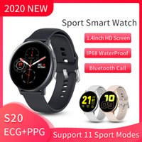 S20 스마트 시계 2020 혈액 산소 모니터 ECG PPG 사이클링 하이킹 피트니스 키트 SMS 메시지 알림 Android IOS SmartWatch IP68 방수 스포츠 시계 남성용 방수 스포츠 시계