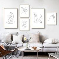 Resim Sergisi Soyut Lady Hattı Vücut Şekil Resim Ev Dekor Nordic Tuval Boyama Duvar Sanatı Minimalist Posterler Ve Kız Yatak Odası Için Baskılar