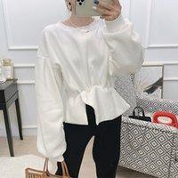 Autumn Cotton Büro-Dame Sweatshirts Frauen-fester O-Ansatz Laterne Hülsen-los Sweatshirt Weiblicher 2020 Autumn Fashion Lady Blusen