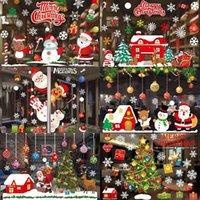 Съемная С Рождеством окно наклейки рождественские украшения Для дома ПВХ стикер стены Navidad 2020 Happy New Year 2021 Декор