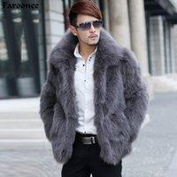 Cuero de hombre Faux Famoonee Abrigos de piel Ropa de marca de manga larga Girar el cuello Peludo abrigo Invierno Warm Outwear Abrigo 2B0362