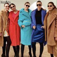 Nagodo طويلة دمية معطف دافئ شتاء 2020 صوف الخروف معاطف الفراء الملابس للنساء الحوامل كبير جدا السيدات سترة 12 الألوان