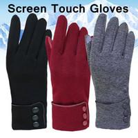 Luvas Touch Screen Inverno luvas quentes senhoras completa Luvas de dedo forma Plush Dentro Luva de pulso Mittens Sólidos Warmer Luva YFA2449