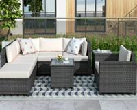 U_Style 8 шт Ротанг Секционный мел с подушками Патио Мебелью наборы Открытого плетеного Секционного WY000067EAA 2020 Мзами Hotselling