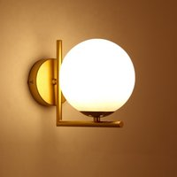 Art Deco Indoor Decorative Gold Base White Globe Glass Ball Wall Lamp Sconce for Home Living Room