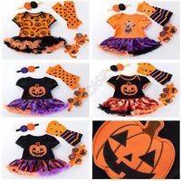De Halloween ropa del bebé fijó los mamelucos del vestido del tutú + Headband + rodillera + Zapatos de cuatro piezas Traje de Halloween Ollas nieve de los niños del mono de calabaza D82503