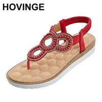 HOVINGEHigh quality summer simple women flat sandals bohemian beads women beach sandals ladies flat shoes big size 36-42