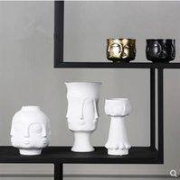 Seramik yüz modeli vazo, yaratıcı sanat el sanatları, ev masası dekorasyonu, modern mobilyalar hediyeler