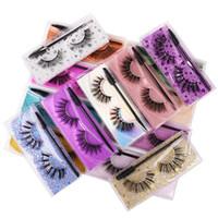 Hot New Falso Eyelashes com Escova Eye Faux 3D Mink Eyelashes Natural Eyelash Extensão Falsa Eye Cílios Extensão Eye Maquiagem Ferramenta