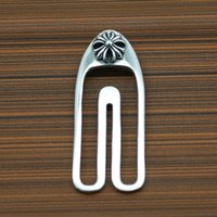 s925 sterling silver simple cross flower round tie clip personality men's high-end business suit tie clip new hot