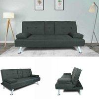 US STOCK Warehouse FUTON SOFA BED SLEEPER DARK GREY FABRIC W22303581