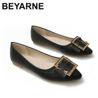 BEYARNEWoman Flat Shoes Crystal Fashion Flats Women Slip On Loafers Ballet Shoes Ladies Casual Leather Footwear New Plus Size 41