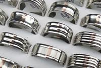 100pcs Argent Tour Mix bande en acier inoxydable Anneaux 8MM hommes et femmes Mode Finger gros anneaux en acier inoxydable Lots de bijoux