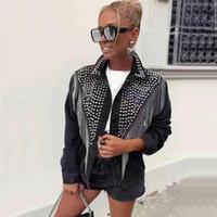 Donne denim jakcet Rivet nappa Jean Giacche gira giù monopetto femminile Cappotti 2020 signore Streetwear Trending Tops CX200811