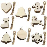 Redondo de madera de las chucherías de la Navidad Bolas Etiquetas Trees Decoraciones del arte del arte Adornos de Navidad del arte de DIY Juguetes Gifs
