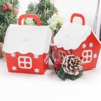 Envoltura de regalo 1set Navidad Caja de caramelo Navidad Casa Forma DIY Blanco Blanco Galleta Red Packaging Party Decoración Merry Home Supplies
