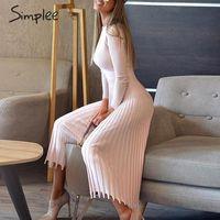 Uzun zarif BODYCON elbise Kadın renk pileli sonbahar kış seksi elbise 200.929 manşon boyun o Katı örme çizgili elbise Kadınlar Simplee