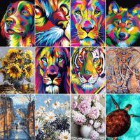 La pittura dai numeri 50x40cm Animali Immagini della pittura a olio Numbers Immagine Gift Set da colorare By Numbers Canvas muro Set