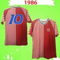 1986 الدنمارك كأس العالم الرجعية لكرة القدم جيرسي 86 91 المنتخب الوطني المنزل الأحمر مايكل لودروب elkjær berggreen خمر قميص كرة القدم الكلاسيكية