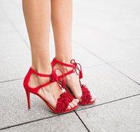 Dipsloot Mujer de moda ante el Negro Rojo Gris Naranja cruz de la hebilla sandalias de la borla de la franja de zapatos de tacón alto de las sandalias del partido más el tamaño 44
