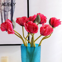 XUELY Cheap Poppies Decorative Silk fake artificial poppy flowers Wedding holiday Home Party Decor fleurs artificielles