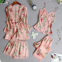 Damen Nachtwäsche Sfit Frauen Floral Pyjamas Sets Sexy Spitze Tops + Shorts + Robe Casual Damen Blume Homewear Sommer Frühling dünn eingestellt