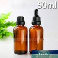 Botellas de alta calidad de aceite esencial de color ámbar vacía botella de cristal 50ml Cosmética de vidrio de 50 ml con 6 Tipo Caps