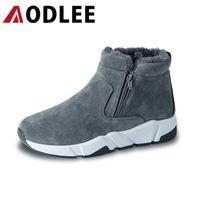 الأحذية aodlee الرجال الشتاء أفخم الاستمرار في حذاء الثلوج الدافئة أحذية العمل الأحذية الكاحل بوتاس هومبر