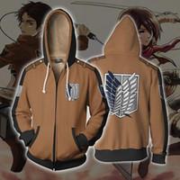 타이탄 까마귀 코스프레 의상 3D에 애니메이션 공격 봄 가을 Sportsuit 캐주얼 지퍼 자켓 운동복을 인쇄