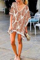 디자이너 커버 업 느슨한 큰 V 넥 반소매 sundress에 여자 비치 드레스 꽃 술 박쥐 슬리브 여름 여자