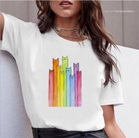 Camisa Casual Tops La camiseta blanca camisa de manga corta del O-cuello femenino ropa colorida del diseñador para mujer T del gato Impreso