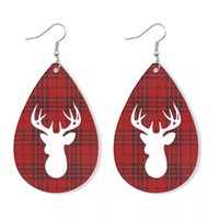 Christmas water- drop earrings New leather Xmas Plaid Elk Pri...