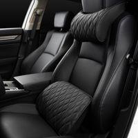 Memory Foam cabeza del coche de la almohadilla de cuero bordado de soportes de asientos Establece amortiguador trasero Ajuste automático Cuello Almohada lumbar