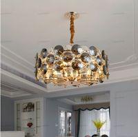 Neue moderne Leuchter-Beleuchtung für Wohnzimmer Rauchgrau Kristall-Lampen Runde Ketten Kronleuchter Hauptdekoration Leuchten