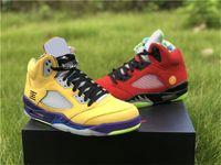 2020 Release Otantik 5 Ne Varsity Mısır Mahkemesi Mor Hayalet Yeşil Güneş Orange5S Erkekler Basketbol kutusu Spor Sneakers Ayakkabı
