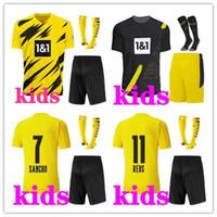 2020 2021 Kinder-Kit + Socken-gelber Fußball Jersey 20 21 # 7 SANCHO # 11 REUS Dortmund Kinder-Fußballhemd weg Customized