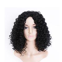 Perucas 16 polegadas Longo Cabelo Humano Big Bouffant Curly Mulheres Sintéticas Fibra Resistente ao Calor Com Tampão Preto