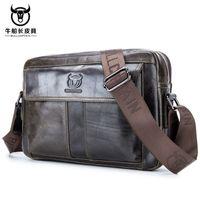 BULLCAPTAIN 2020 men handbag Messenger bag Mens Shoulder Bag Genuine Leather mens Crossbody Small male man bags Travel Tote
