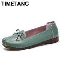 TIMETANG new autumn genuine leather women flat shoes square toe without lace up flat shoes woman butterfly-knot women moccasins