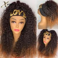 XUMOO Ucuz Remy İnsan Saç Baş bandı Peruk Ombre Kahverengi Kinky Kıvırcık Yok Dantel İnsan Saç Peruk Kafa Peruk İçin Siyah Kadınlar