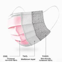 envío libre de DHL! 50/100/200 Máscaras piezas desechables cara rosada del color no tejido transpirable de 3 capas máscara con elástico del oído Máscaras Banda cara