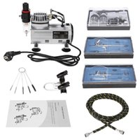 KKmoon Brand New Professional 3 Airbrush Kit Con compressore d'aria a doppia azione Hobby Spray Air Brush Set Tattoo Art smalti