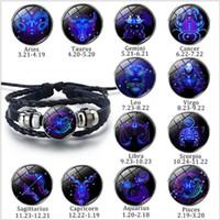 Hot vente 12 fois Constellation Gem Bracelet en cuir tricoté à la main Bouton Bracelet hommes et femmes Bijoux cadeau