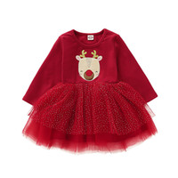 Christmas Toddler Baby Girls Dresses Long Sleeve Deer Print ...