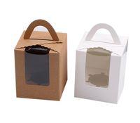 Single-Kuchen-Kästen mit klarem Fenstergriff Tragbare Macaron Box Mousse Kuchen Snack-Boxen Papier-Paket-Kasten-Geburtstags-Party Versorgungs