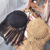 Pequeña bolsa de mensajero de las mujeres 2020 nuevo algodón línea de tejido a mano bolsa de paja se inclina étnica del viento de la borla de la playa del verano bolso # 15