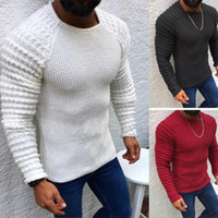 knitted chunky sweater Mens sweater pullover Cable knit slee...