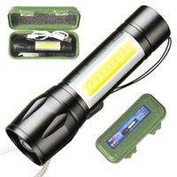 Дешевые мини светодиодный фонарик с боковой COB свет USB Перезарядка факел портативный внешний туризм кемпинга алюминиевого сплава лампа с USB кабель батареи