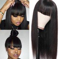 Perruques de cheveux synthétiques vierges brésiliennes avec une frange soignée NONE Dentelle Perruques avant Glâtress Machine Gradiess Wig Résistant la chaleur Femmes noires longues
