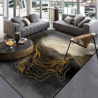 Teppiche Moderne Abstraktion Schwarz Gold Linien Bodenmatte Wohnzimmer Tür Badezimmer Rutschfeste Teppich Schlafzimmer Plüschtanzug Individuell gestaltet